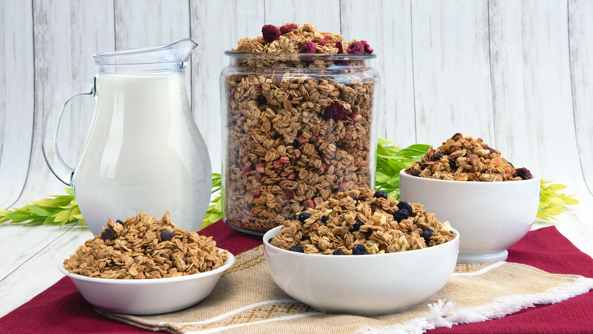 Our classic granola flavors displayed on a table