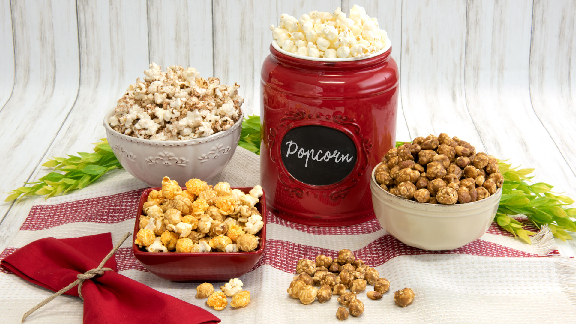 Our classic popcorn flavors display on a table