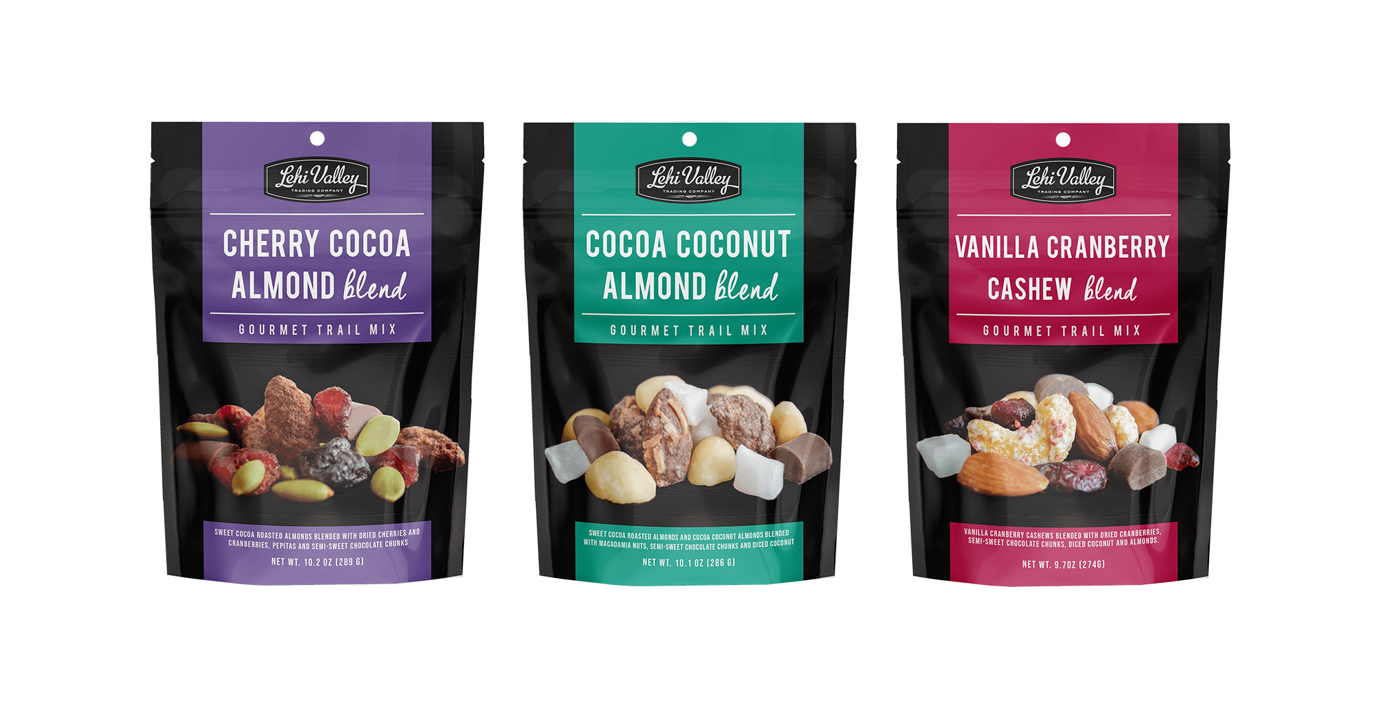 Our various gourmet blend trail mixes displayed in their bags