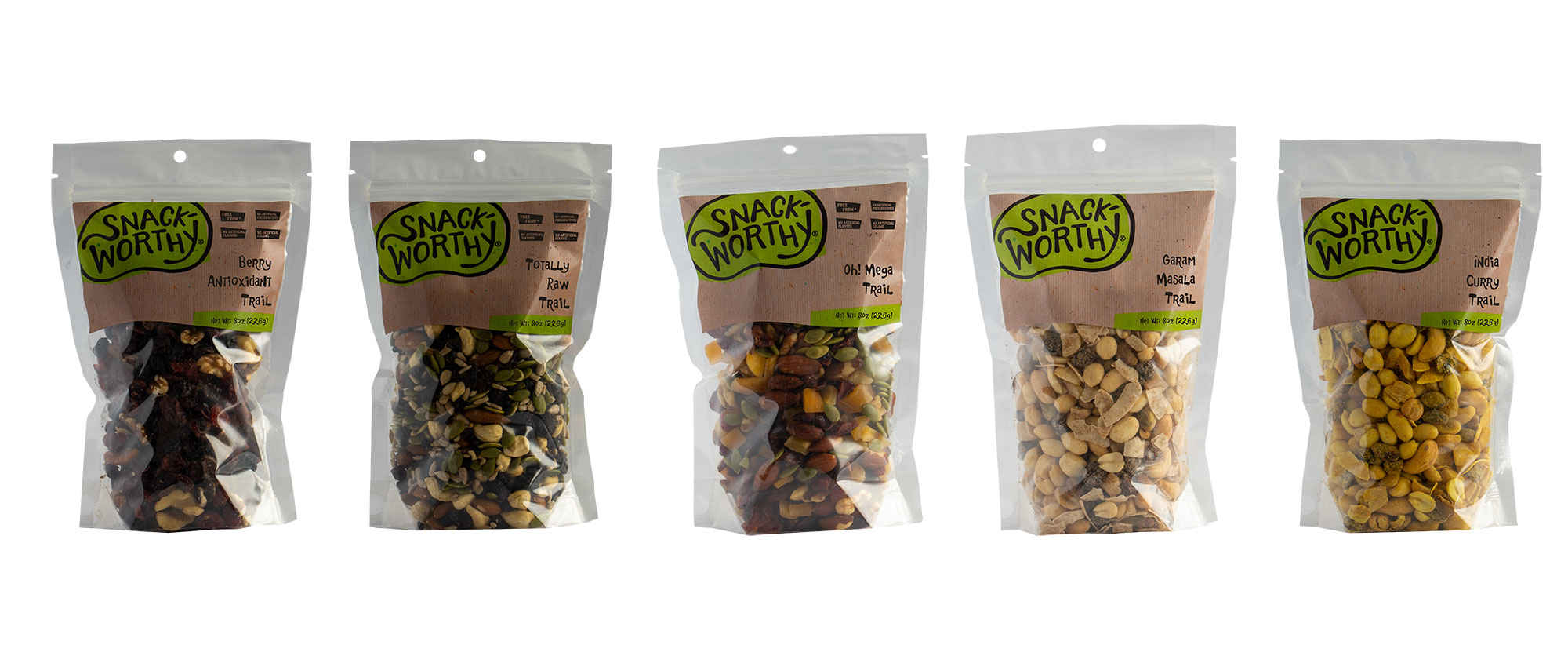 Our new trail mixes displayed in their Snackworthy branded bags