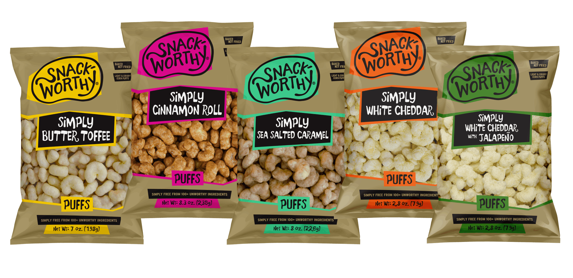 Our new simply puffs flavors displayed in their Snackworthy branded bags