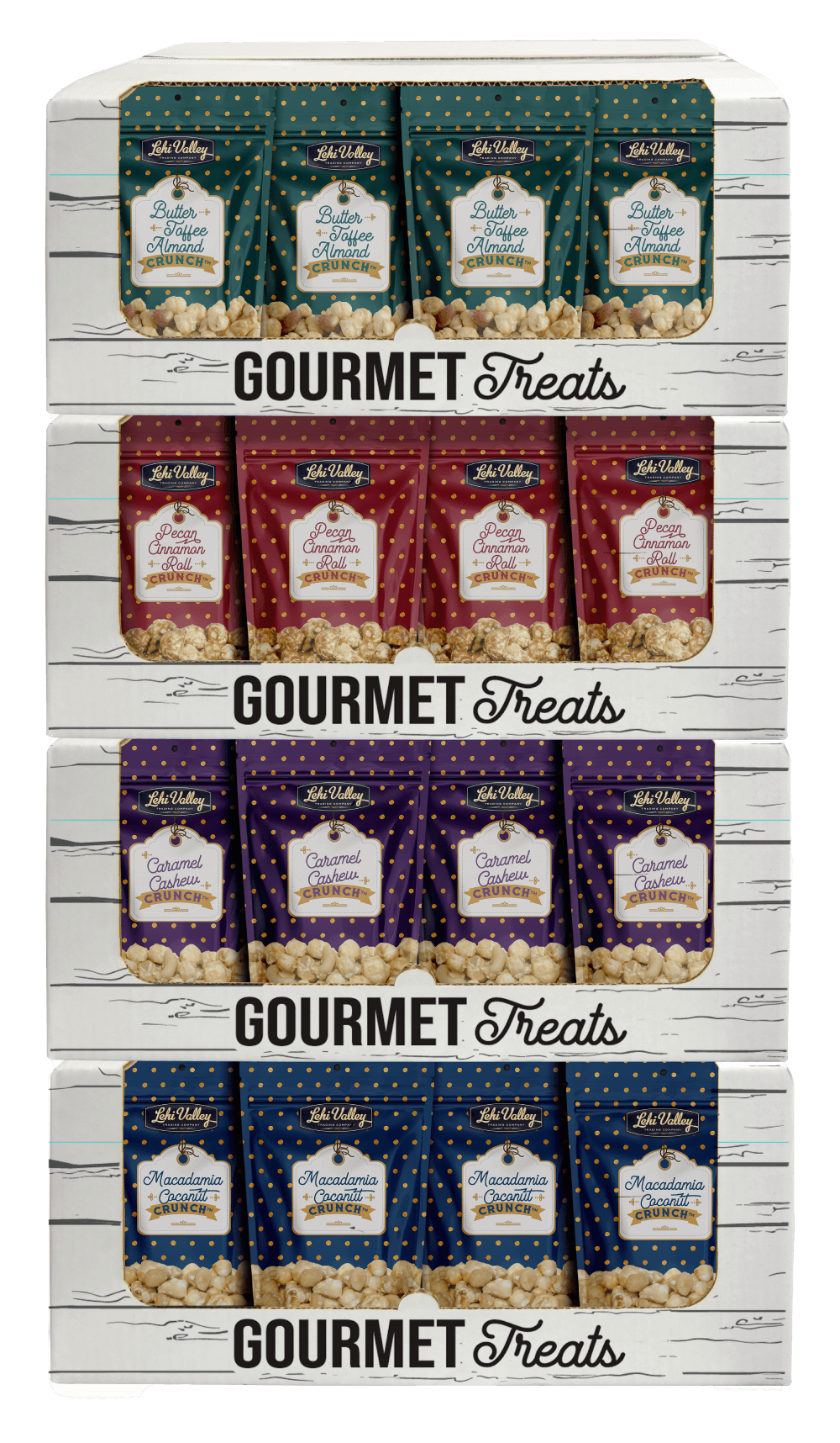 Out gourmet popcorn shipper boxes opened for display