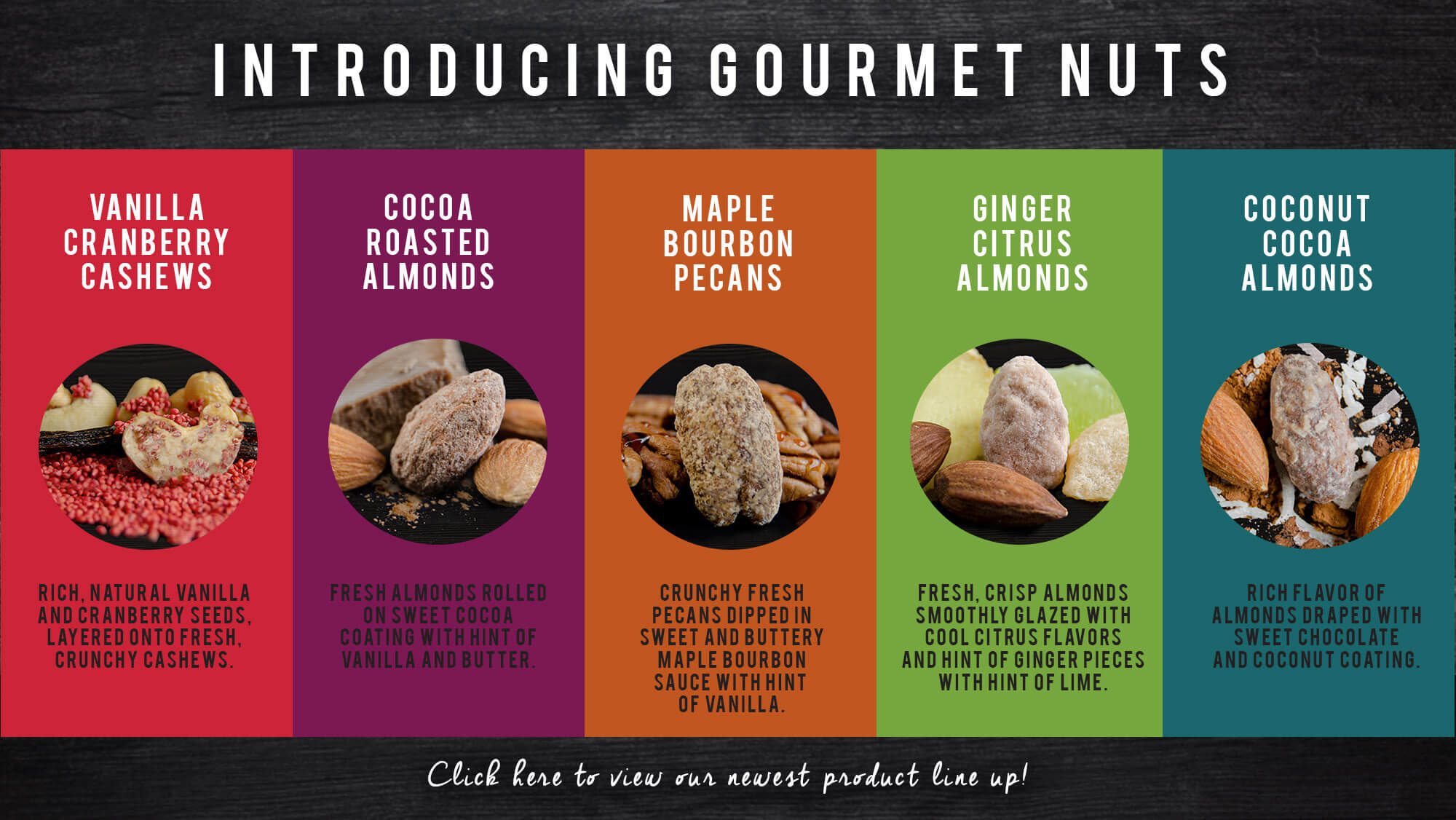 An image chart of our gourmet nuts