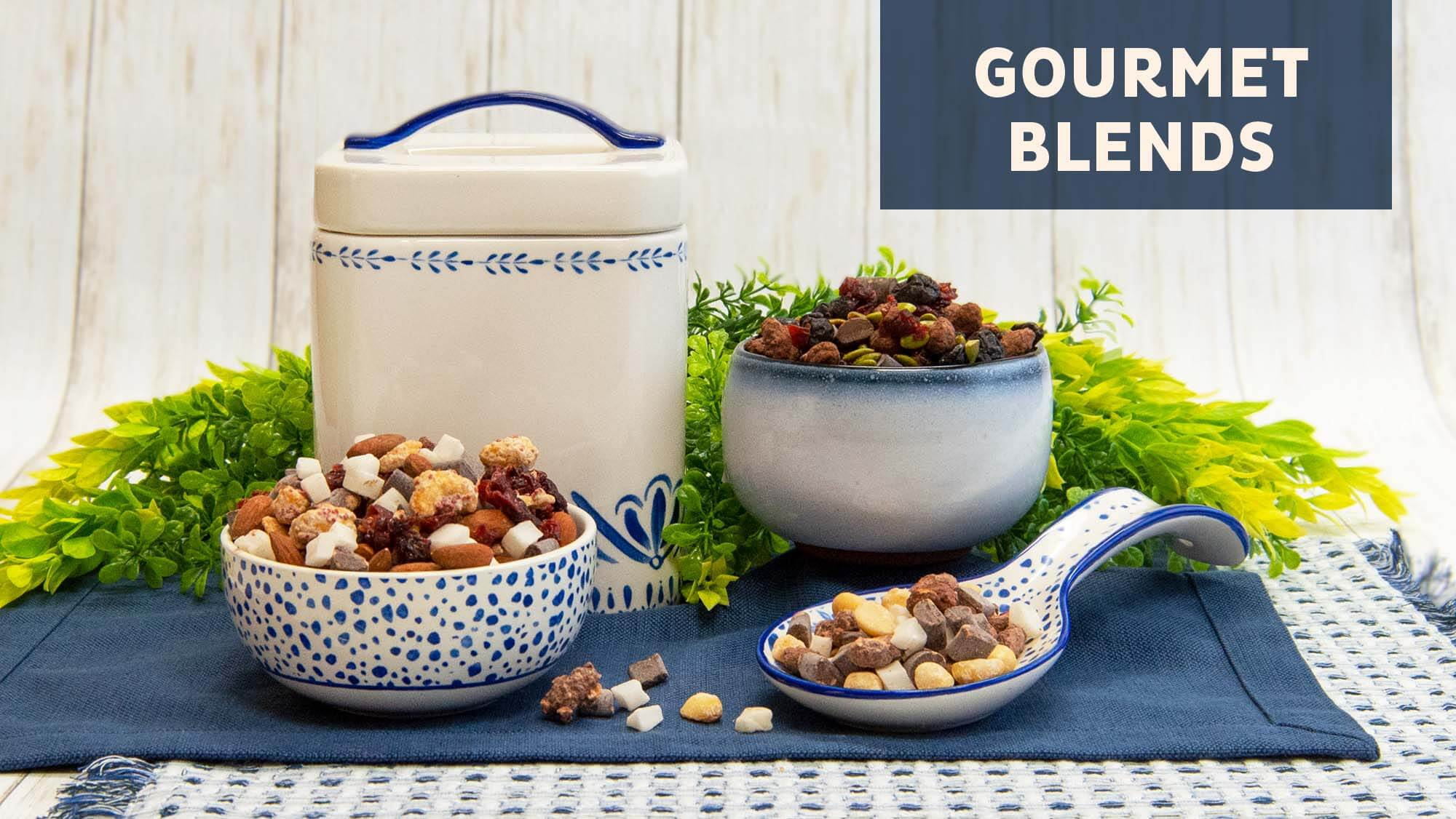 A beauty image of our gourmet trail mix blends